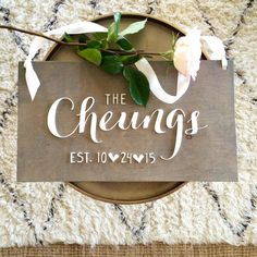 A personal favorite from my Etsy shop https://www.etsy.com/listing/253325687/personalized-sign-laser-cut-sign-wedding