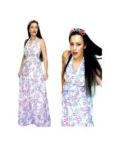 PURPLE RETRO HALTER Dress P25 70s Hippy Maxi White Cotton Spring Summer Backless Vintage Clothing, Vintage Outfits, 70s Hippie, White Maxi, Hippy, White Cotton, Lily Pulitzer, Backless, Spring Summer