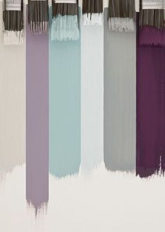 Mauve and grey for living space, grey and mint for bed room. Accent pops of purple