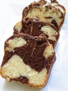 Chocolate Marble bread  I made this the easy way-marble cake mix, add one box of vanilla instant pudding mix before you separate some of the batter to add your cocoa, and bake in loaf pans. Comes out great and so easy.