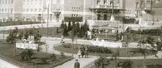 """Teaterparken i to. Vi ser her trikken passere rett foran teateret. Etter noen år ble veien lagt utenom parken, slik vi kjenner den idag Dato: ca. 1912 Foto/Kilde: Stein Thowsens Samling – """"Bergen i forandringens tegn"""""""