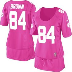 Women's Nike Pittsburgh Steelers #84 Antonio Brown Elite Pink Breast Cancer Awareness Jersey$99.99