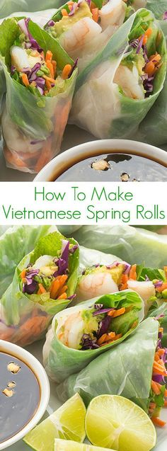How To Make Vietnamese Spring Rolls - An easy step-by-step tutorial for making h. How To Make Vietnamese Spring Rolls - An easy step-by-step tutorial for making homemade Vietnamese spring and summer rolls at home! Healthy Appetizers, Appetizer Recipes, Healthy Snacks, Healthy Eating, Salmon Appetizer, Mini Appetizers, Snacks List, Italian Appetizers, Vegetarian Recipes