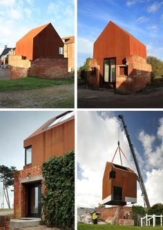- steel structure was prefabricated and craned into position on top of an existing ruin ; Light streams in from a large roof window and a corner window, which provides long Interior Exterior, Exterior Design, Modern Prefab Homes, Prefab Cabins, Roof Window, Tiny House Cabin, Design Your Dream House, Steel Structure, Bungalows