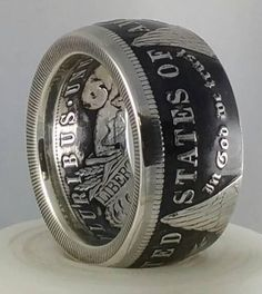 Silver Dollar Coin, Morgan Silver Dollar, Silver Coins, Viking Jewelry, Coin Jewelry, Jewlery, Compass Jewelry, Ring Displays, Coin Ring