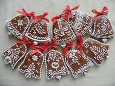 Bells - Christmas Classics Gingerbread Decorations, Christmas Gingerbread, Gingerbread Cookies, Crazy Cookies, Cupcake Cookies, Christmas Cookies, Bolacha Cookies, Iced Sugar Cookies, Baby Food Jars