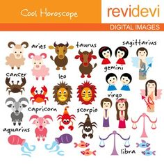 Horoscope clip art. Zodiac digital clipart. This set includes 24 graphics. Cute digital clipart for kids themed projects.Note: text won't appear on actual files.This cute digital clipart set is great for teachers and educators. The collection is suitable for school and classroom projects such as for bulletin board, learning printable, worksheet, classroom decor, craft materials, activities and games, and for more educational and fun projects.You will receive:- Each clipart saved separately…