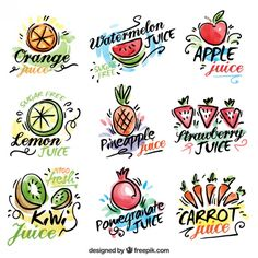 Watercolor hand drawn fruit and vegetable juices labels Free Vector Fruit Logo, Jam Packaging, Food Packaging Design, Food Graphic Design, Food Design, Juice Bar Design, Fruit Sketch, Juice Logo, Fruit Vector