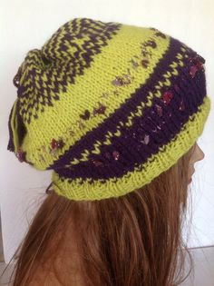 Hand Knit Beanie Beret Slouch Lime Green Purple by HANDKNITS2LOVE