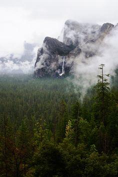 Bridalveil Fall | beautiful fall in the morning fog yosemite-in-early-spring, by Erika Wang....