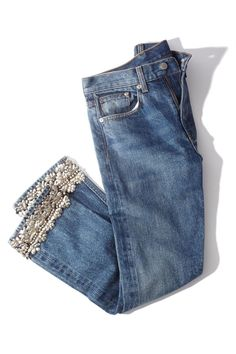 BROCK COLLECTION Silver Embellished Jean - Denim blue mid-rise fit featuring a straight leg silhouette with embellished trim detail at hem. Denim And Lace, Blue Denim, Blue Jeans, Faded Jeans, Silver Jeans, Denim Fashion, Womens Fashion, Fashion Trends, Jean Diy