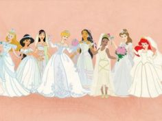 Disney princess wedding dresses- Mulan and Cinderella are not right, but it's still pretty Disney Belle, Bella Disney, Disney Amor, Disney Jasmine, Disney Dream, Disney Girls, Disney Love, Disney Magic, Disney Stuff