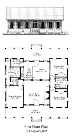 House Plan 73886 - Country, Historic Style House Plan with 1744 Sq Ft, 3 Bed, 2 Bath Best House Plans, Dream House Plans, Small House Plans, House Floor Plans, Metal House Plans, Pole Barn House Plans, Pole Barn Homes, Cabin Plans, Metal Building Homes