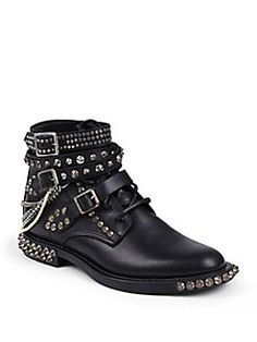 Saint Laurent - Rangers Embellished Leather Lace-Up Ankle Boots