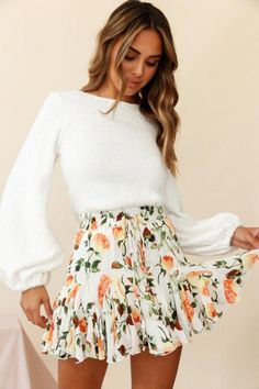 cute outfits for school ; cute outfits with leggings ; cute outfits for women ; cute outfits for school for highschool ; cute outfits for spring ; cute outfits for winter Cute Casual Outfits, Girly Outfits, Mode Outfits, Cute Summer Outfits, Orange Outfits, Cute Easter Outfits, Floral Skirt Outfits, Cute Skirt Outfits, Floral Skirts