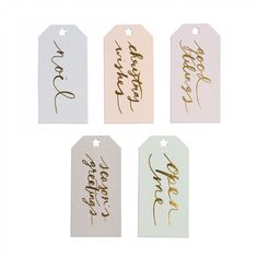 Pastel and gold gift tags - set of 10 - Christmas Wrap Accessories - Christmas Wrap - Christmas Shop