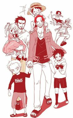 Shanks, Mihawk, Perona, Luffy, Zoro, Law, Ace, Marco, young, childhood, cute, funny, piggyback, reading, book, text; One Piece