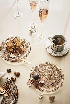 Metallic Lace Dessert Plate