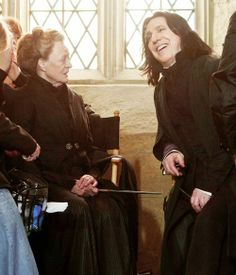 Maggie Smith & Alan Rickman. She looks positively alarmed that he is laughing.
