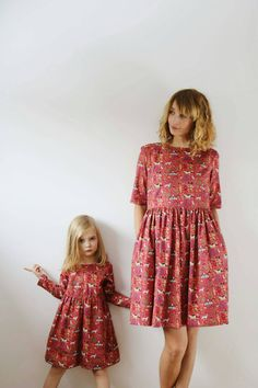 Matching Mommy and Me Dresses - Funny Print Dresses - Raspberry Pink Dresses - Like Mother Like Daughter Dresses - Handmade by OFFON by OffOn on Etsy