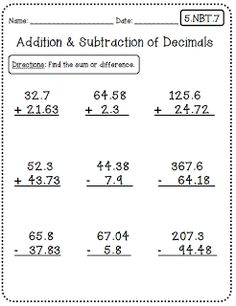 math worksheet : 1000 ideas about adding decimals on pinterest  decimal decimals  : Adding And Subtracting Decimals Worksheets 4th Grade