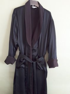 Sexy Sensual Cacique Black Shiny Polyester Long Tie Front Robe  Plus Size 18/20 Never Worn by SecondHandSurprises on Etsy