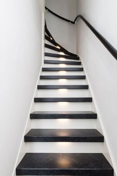 Staircase Wall Decor, Staircase Makeover, Staircase Design, Space Saving Staircase, Steel Gate Design, Mad About The House, Small Space Interior Design, Painted Stairs, Interior Stairs