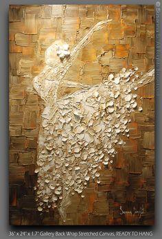 Original Abstract Art Painting White Ballerina by ModernHouseArt - https://www.etsy.com/