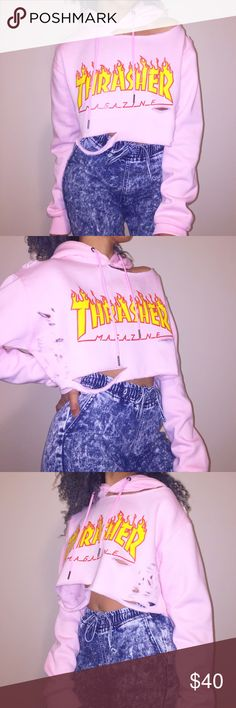 Cropped & distressed pink THRASHER hoodie Cropped & sliced up off the shoulder THRASHER hoodie! THRASHER Sweaters