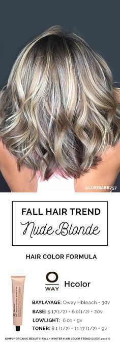 Blonde hair for fall and winter 2016. Nude blonde is dimensional and perfect for most any skin tone, channeling ashy cool, neutral and warm tones. Formula with Oway Hcolor by Lori Babb