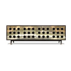 """by Scala Luxury Contemporary Buffet doors in brush-polished brass, body mantled in dyed goatskin. Doors open and close on push without any visible hardware (touch-latch doors). Item comes with one adjustable glass shelf in the center section. Lead Time: 14-16 Weeks 97""""W x 35""""H x 20""""D CG-SL-0614-12005"""