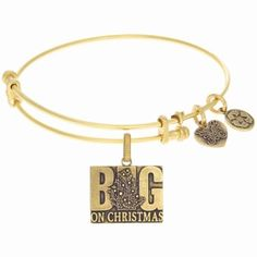 """Big on Christmas"" dangle charm bangle by Angelica Collection.  Made in the USA of recycled metals.  Available in the following colors: antique gold, antique silver.  Ref# ROY-GEL1270."