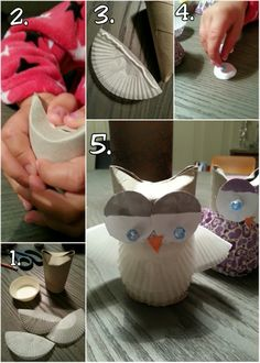 lag dorullugler av muffinsformer og doruller http://www.smabarnsforeldre.no/diy-ugler-av-dorullhylser-og-muffinsformer/