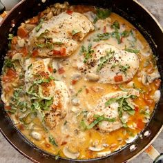 Chicken Chasseur - A delicious and easy French Dinner of Chicken in a wine, lemon Cream Sauce with Mushrooms and Tomatoes.