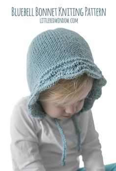 This adorable bluebell baby bonnet knitting pattern uses a feather and fan stitch to create this beautiful wavy edge. It will look so sweet on your newborn, baby or toddler! Baby Hat Knitting Patterns Free, Baby Hats Knitting, Vintage Knitting, Knitting Stitches, Baby Patterns, Knitted Hats, Crochet Patterns, Sweater Patterns, Stitch Patterns