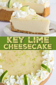 key lime cheesecake is a fun spin on the key lime pie. It's so thick and creamy! Did I mention it has the perfect balance of sweet and tangy? As far as the perfect summer dessert, this key lime cheesecake is the total package. Key Lime Pie Cheesecake, Cheesecake Recipes, Dessert Recipes, Keylime Cheesecake Recipe, Summer Cheesecake, Blackberry Cheesecake, Quick Dessert, Bakery Recipes, Appetizer Recipes