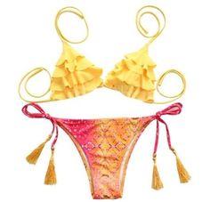 Plavky dámské dvoudílné s třásněmi žluté se vzorem dva – dámské plavky +  POŠTOVNÉ ZDARMA Na 5009bd2c4d