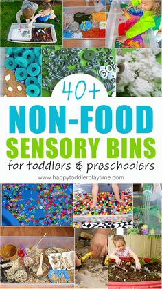 non-food sensory bins. Sensory play ideas for kids using non-food sensory bin fillers from paint to yarn, shaving cream, clean mud and more! Fun and easy ideas to entertain and educate your toddler or preschooler without using food. Farm Sensory Bin, Toddler Sensory Bins, Baby Sensory, Toddler Play, Sensory Play, Toddler Preschool, Toddler Crafts, Sensory Table, Baby Play