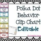 Editable Polka Dot behavior clip chart includes calendar for daily behavior documentation.