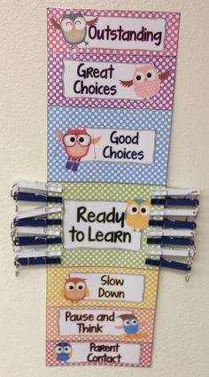 Owl & polka dots clip chart bundle by Teacher Treasure Hunter… Classroom Organization, Classroom Management, Behavior Management, Owl Theme Classroom, Classroom Ideas, Classroom Teacher, Kindergarten Classroom, Behavior Cards, Behavior Plans