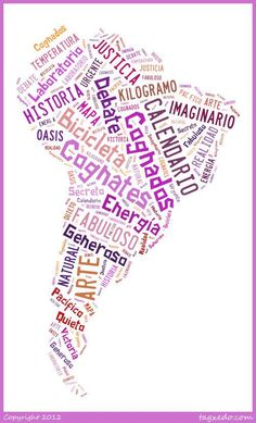 These are so, so important when learning Spanish. My first lesson of the year talked about strategies for learning new languages and listening and looking for cognates is a biggy! Spanish Cognates, Spanish Vocabulary, Teaching Spanish, Spanish 1, Spanish Words, Spanish Lessons, Make A Word Cloud, Hispanic Countries, Tagxedo