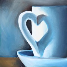 """First Love - Original Coffee Cup Oil Painting 8""""x8"""""""