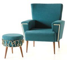 Villa Lumi   Lisbon to Ankara armchair and stool. - Cadeirão e banqueta Lisbon to Ankara.