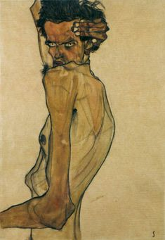 Egon Schiele Self-portrait with Arm Twisted Above Head 1910