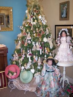 Our Victorian Christmas Tree At Www.hendersonmemories.com Porcelain Dolls,  Cameos, Fans