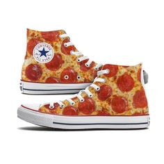 These Pizza Converse High Top Custom Chucks are made to order especially for you and feature a pepperoni pizza pattern on both the inside and outside panels of each shoe. Please note, each pair is cus