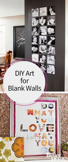 Cover up that blank wall with some DIY art that takes less than a day to make and is very inexpensive! Our project ideas include a black and white photography gallery wall, creating a watercolor painting on multiple canvases or using paper and fabric scraps for a decoupage piece.
