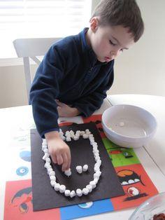 kids halloween craft - marshmallow ghost