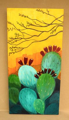 Cactus Butte painting Contemporary Southwest by RobinChladDesigns