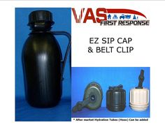 VAS BLACK BPA FREE! 1 QT CANTEEN W EZ SIP CAP and BELT CLIP -100% MADE IN THE USA * Learn more by visiting the image link.